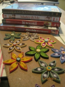 Escape from 101 degrees Day 7  July 6, 2014 Stayed in our trailer, had the AC on while watching DVDs and did some paper quilling.