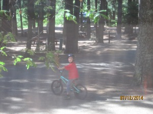 Memorable moments: Owen riding his bike around the campground.