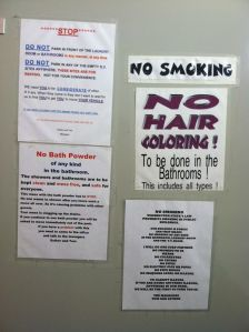 There were rules all over the restroom and laundry facility. I like rules and we are avid followers but this was just too much!