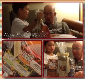 Gifts for Richard: chocolate popcorn, pancake mix, chocolate-covered fruits, chocolate bars.