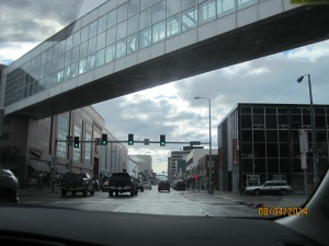 Downtown Anchorage. It's where they have one-way streets, restaurants, hotels, shops, local businesses, etc.
