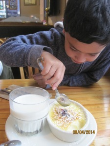 Here we are digging into our creme brulee dessert with milk. It was very bright out and didn't realize what time it was until I started rubbing my eyes while chewing on my dessert.