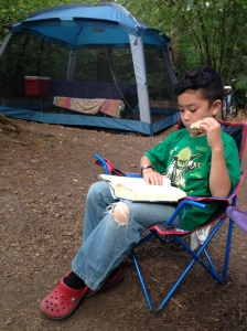 Eating s'mores while reading a good book.