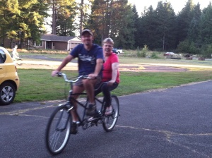 Sep. 3, 2014 riding our bikes at the campground with our wonderful friends Milenda and Dan.