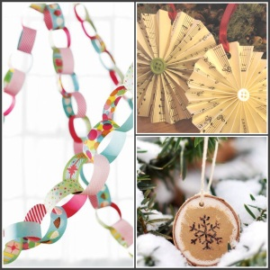 Paper chain garlands, music sheet ornament and wood slice snowflake art.