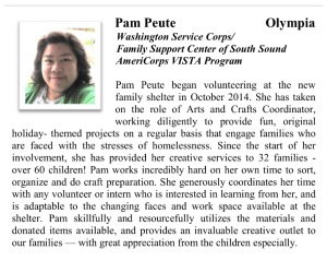 I will also continue to volunteer at the Family Support Center. I was honored to be recognized by the governor back in Apr 2015 for my volunteer work.
